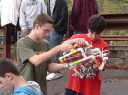 Environmental Science and Robotics classes at collection sites test and launch robots, then collect water samples to be analyzed at the site and in class. Photo from Linda Weber, Project Awardee.