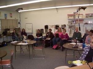 Teachers debrief after a second grade lesson study..