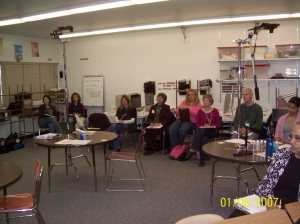 Teachers debrief after a second grade lesson study..