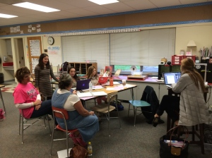 Members of 4th grade lesson study team planning research lesson