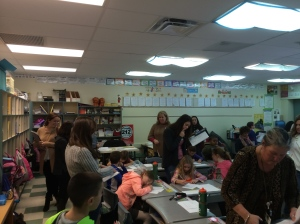 Pat Guida (foreground)  teaches research lesson as numerous  educators observe and collect data on student thinking  11/14/14