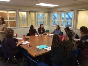 Dr. Sharon Dotger facilitates a post lesson discussion at Long Branch Elementary School in Liverpool, NY.