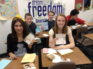 Students Exchange Pen-pal letters with students in Korea. Project Photo.