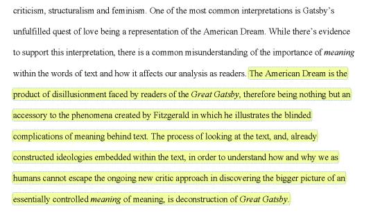 Excerpt from Harvest Collegiate Student, Karen S.'s paper from the Lit, Crit & Grit: Deconstruction course.
