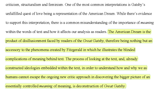 Excerpt from Harvest Collegiate Student, Karen S.'s paper from the Lit, Crit & Grit: Deconstruction course.