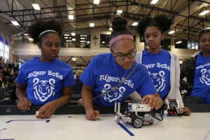 Marian Girls hard at work at the Clavius Project Robotics Jamboree (Project Photo)